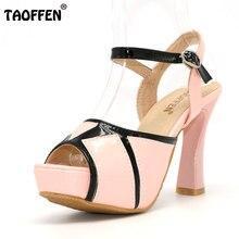 Taoffen/открытым носком обувь на каблуке Элегантные с ремешками вокруг щиколотки женские сандалии бренда качество на высоком каблуке обувь размеры 33–43 PA00013