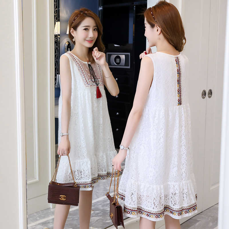 98ce0b7545a1e 3029# Sleeveless Lace Maternity Dress 2019 Summer Fashion Tank Dress  Clothes for Pregnant Women Embroidery