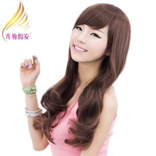 Women's wifing long curly hair wig female oblique bangs curl hair wig girls female wig