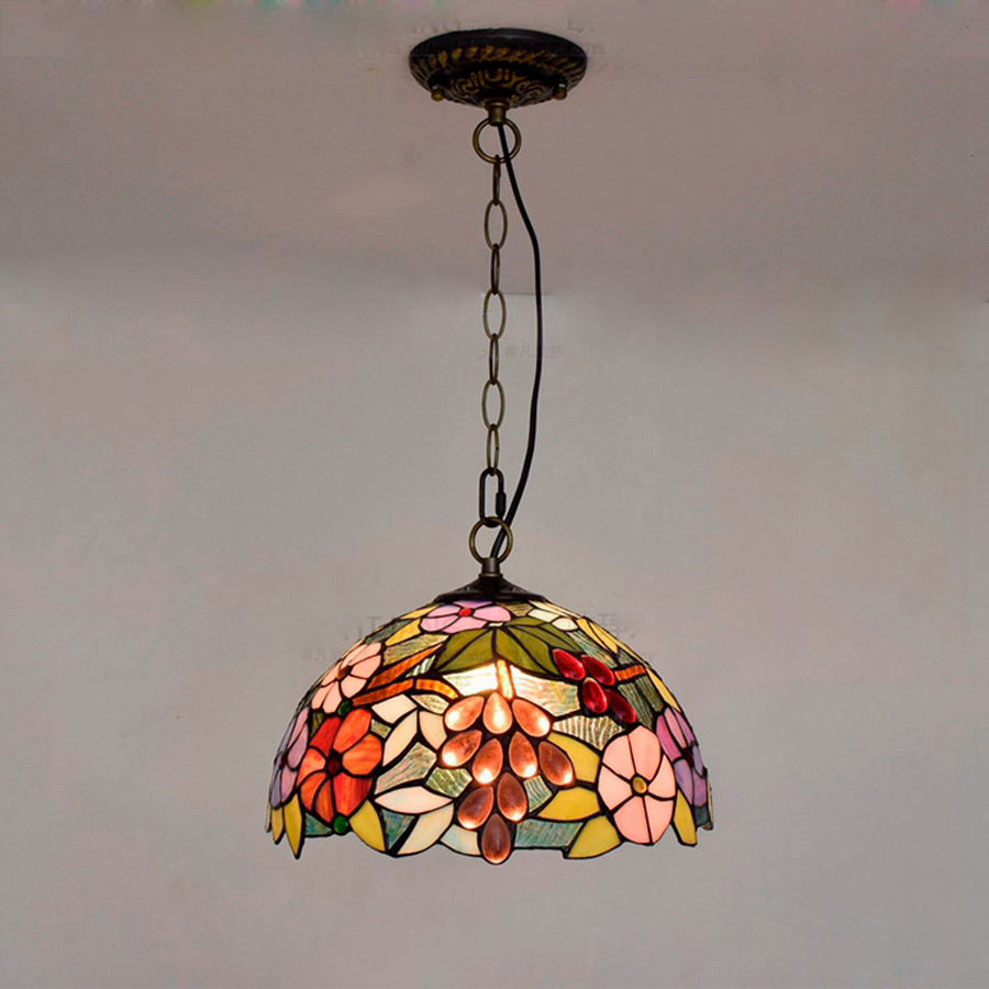 Home decoration European style fruit Tiffany chandelier Creative Cafe Hotel interior chandeliers 30cm LED light