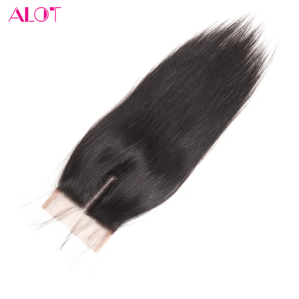 ALOT Straight Human Hair Lace Closure 4x4 100% Human Hair Natural Color 8-20Inch Malaysian Non-Remy Hair With Baby Hair