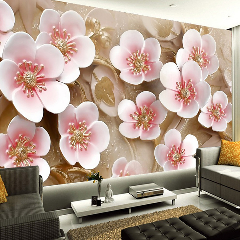 Custom Bedroom Mural Wallpaper TV Background 3D Relief Pink Flowers Wall Mural 3D Room Landscape Wall Paper Modern Home Deocr