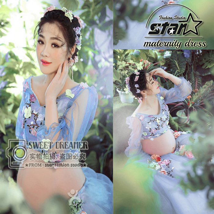 ФОТО Floral Fairy Lace Maternity Photography Props Clothes Pregnancy Gown Dresses For Pregnant Women Clothing Photo Premama Costume