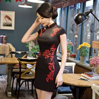 New Arrival Summer Women S Mini Cheongsam Fashion Chinese Style Rayon Dress Elegant Qipao Vestido Size