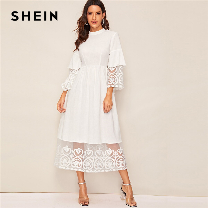 SHEIN Elegant Mock-Neck Embroidery Organza Cuff And Hem Long Dress Women Autumn Fit And Flare Dress Empire Abaya Dresses
