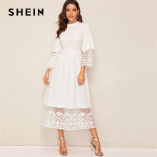 SHEIN Elegant Mock Neck Embroidery Organza Cuff and Hem Long Dress Women Autumn Fit and Flare Dress Empire Abaya Dresses