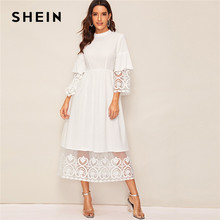 SHEIN élégant blanc col montant broderie Organza manchette et ourlet longue robe femmes automne Fit et Flare robe Empire Abaya robes(China)