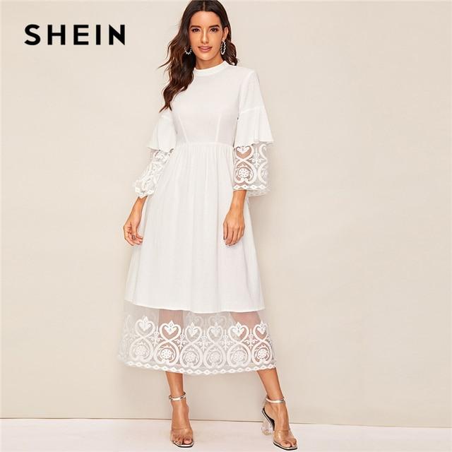 SHEIN Elegante Mock Neck Stickerei Organza Manschette und Saum Lange Kleid Frauen Herbst Fit und Flare Kleid Reich Abaya kleider