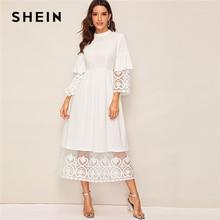 SHEIN élégant col montant broderie Organza manchette et ourlet longue robe femmes automne ajustement et Flare robe Empire Abaya robes