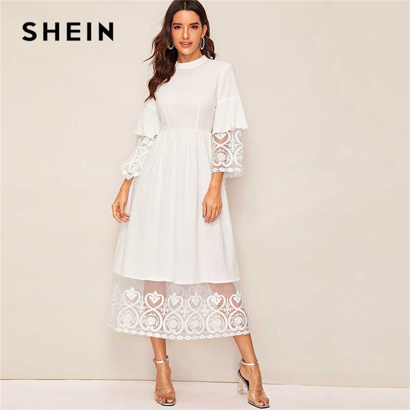 Shein elegante mock-neck bordado organza manguito e bainha vestido longo feminino outono ajuste e alargamento vestido império abaya vestidos