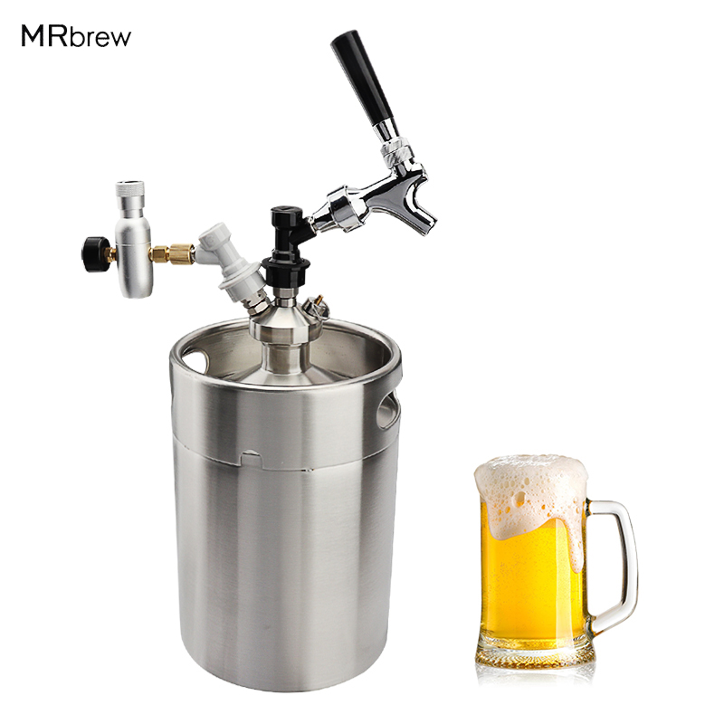 5L Mini Beer Keg Growler for Craft Beer Dispenser System CO2 Draft Beer Faucet with Perfect Pour Regulator image