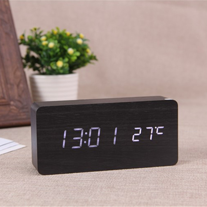 Antique Desktop Clocks With Three Alarm Group LED Silent Clock Digital  Watch Board Bedroom Wooden Bamboo Despertador Home Decor In Alarm Clocks  From Home ...