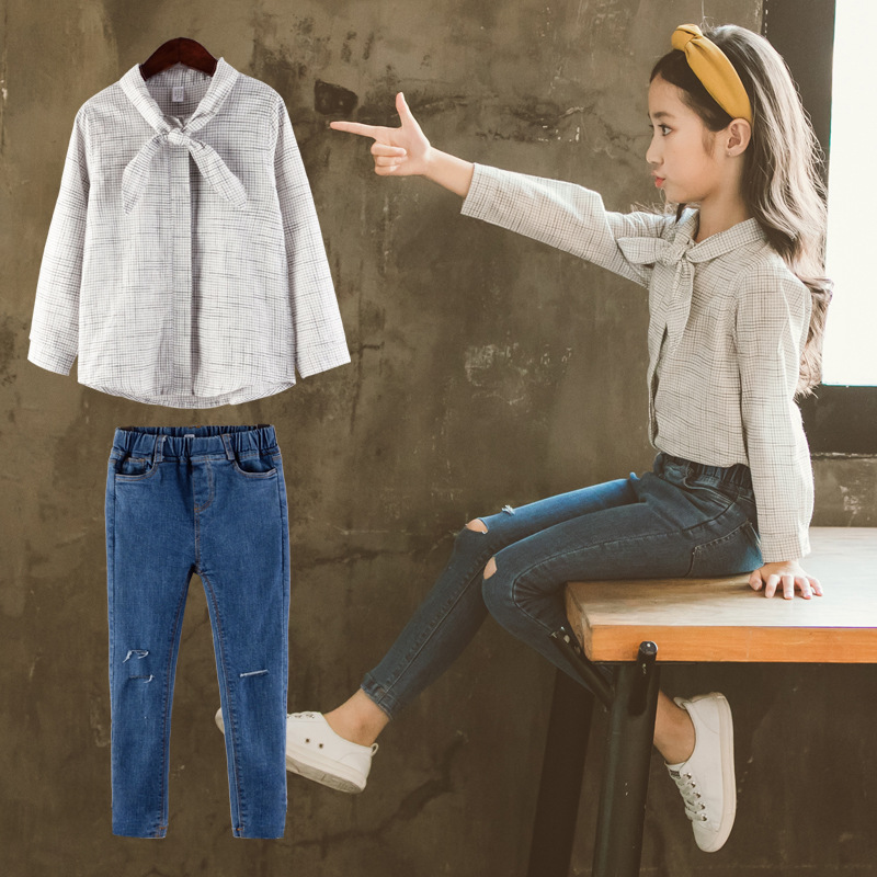 2018 Teenage Girls Clothes Sets Kids 2 Pcs Plaid Tops Blouses Shirts + Denim Pants Jeans Trousers Suits Children Clothing Sets ad children s mickey thick sets 2 10 age cotton sweater pants boys girls christmas t shirts trousers kids clothing clothes
