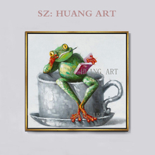 Professional Artist Hand-painted High Quality Funny Frog Oil Painting on Canvas Modern Animal for Wall Decoration