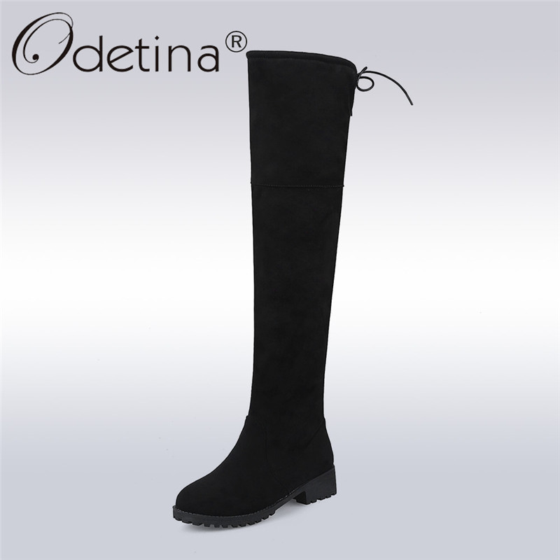 Odetina Sexy Over The Knee High Faux Suede Women Boots Chunky Low Heel Lace Up Thigh High Boots Winter Warm Shoes Plus Size 43
