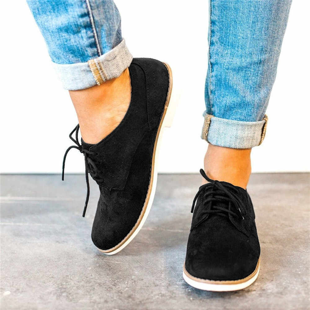 YOUYEDIAN נשים נעלי הבוהן מוצק צבע קרסול זמש מקרית תחרה עד zapatos de mujer קון tacon פיאסטה קון טאקו לgrues #3
