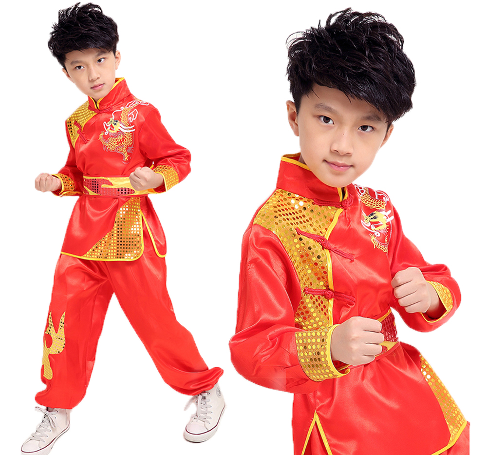 High Quality Children Adults Tai Chi Wushu Clothing  Long Sleeve Ethnic Dragon Totem Martial Art Performence Suits For Boys