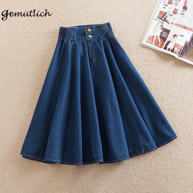 GEMUTLICH S-9XL Women Denim Skirt A-Lined Loose Wide Flare Elastic Waist Vintage Long Skirt Over Size