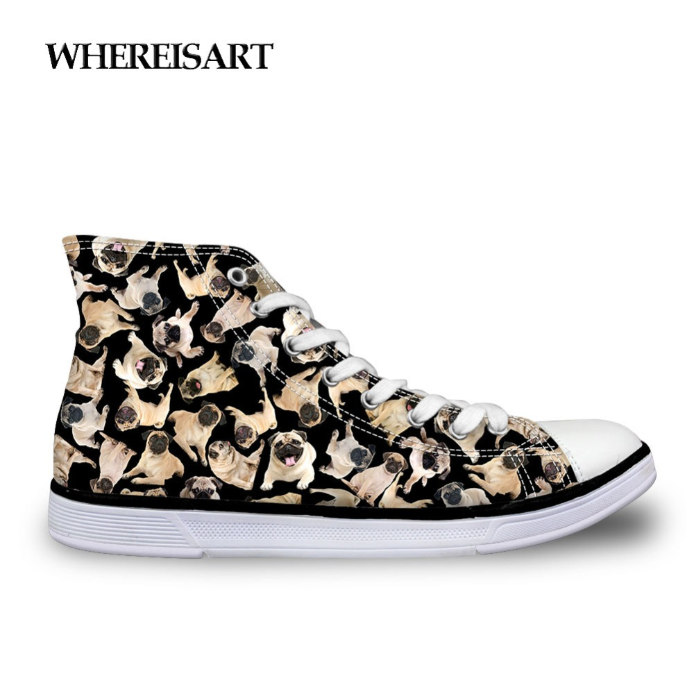 Men's Vulcanize Shoes Whereisart Trendy High Top Shoes Man Pug Dog Printing Sneakers Flats Men Vulcanize Shoes Animals Cat Casual Shoes Men Walking Shoes