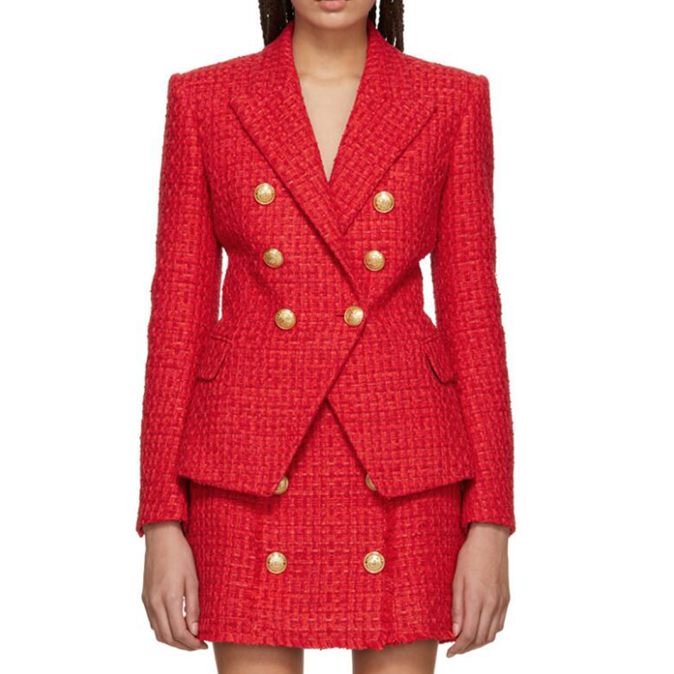 HAGEOFLY High Quality New Red Blazer Long Sleeve Coats Double Breasted Gold Buttons Blazers Women Outer