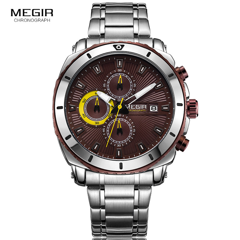 New MEGIR Watches Mens Top Luxury Brand Steel Strap Quartz Wristwatch Men Military Army Sport Clock Chronograph Male Watch 2075 megir men s wrist watch top luxury brand mens chronograph clocks military sport army clock men male classic quartz watches 3010