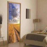 Newest 2 Pcs Set 3D Autumn Grassland Door Wall Stickers 70 200cm Home Decor DIY Door