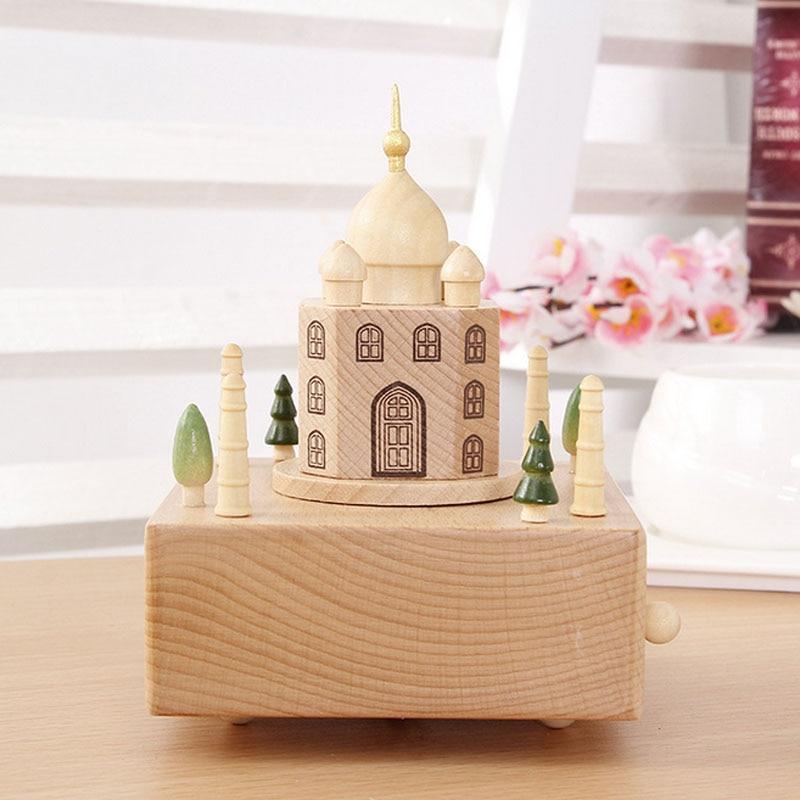 1 Piece Wood Taj Mahal Music Ofbox Classic Toy For Children Wind Up Toy Spirited Away Clockwork Handmade Creative Birthday Gift