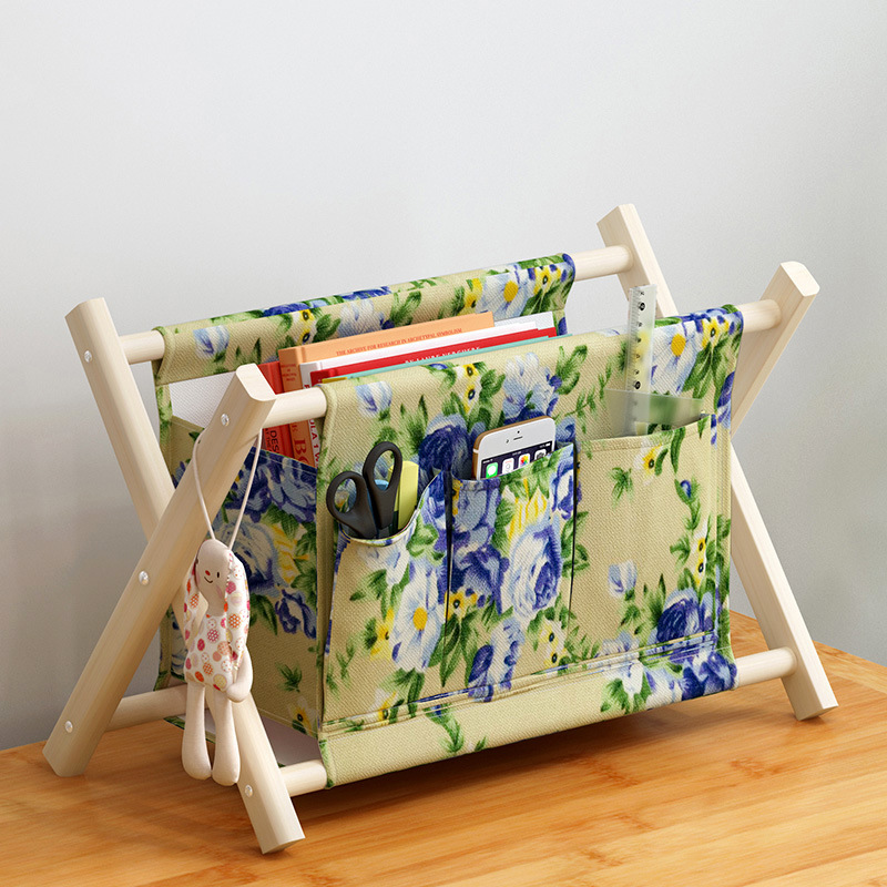 Wooden X Frame Foldable Laundry Basket Thick Cotton Linen Baby Toys Dirty Clothes Basket Portable High Capacity Laundry Hampers in Storage Baskets from Home Garden
