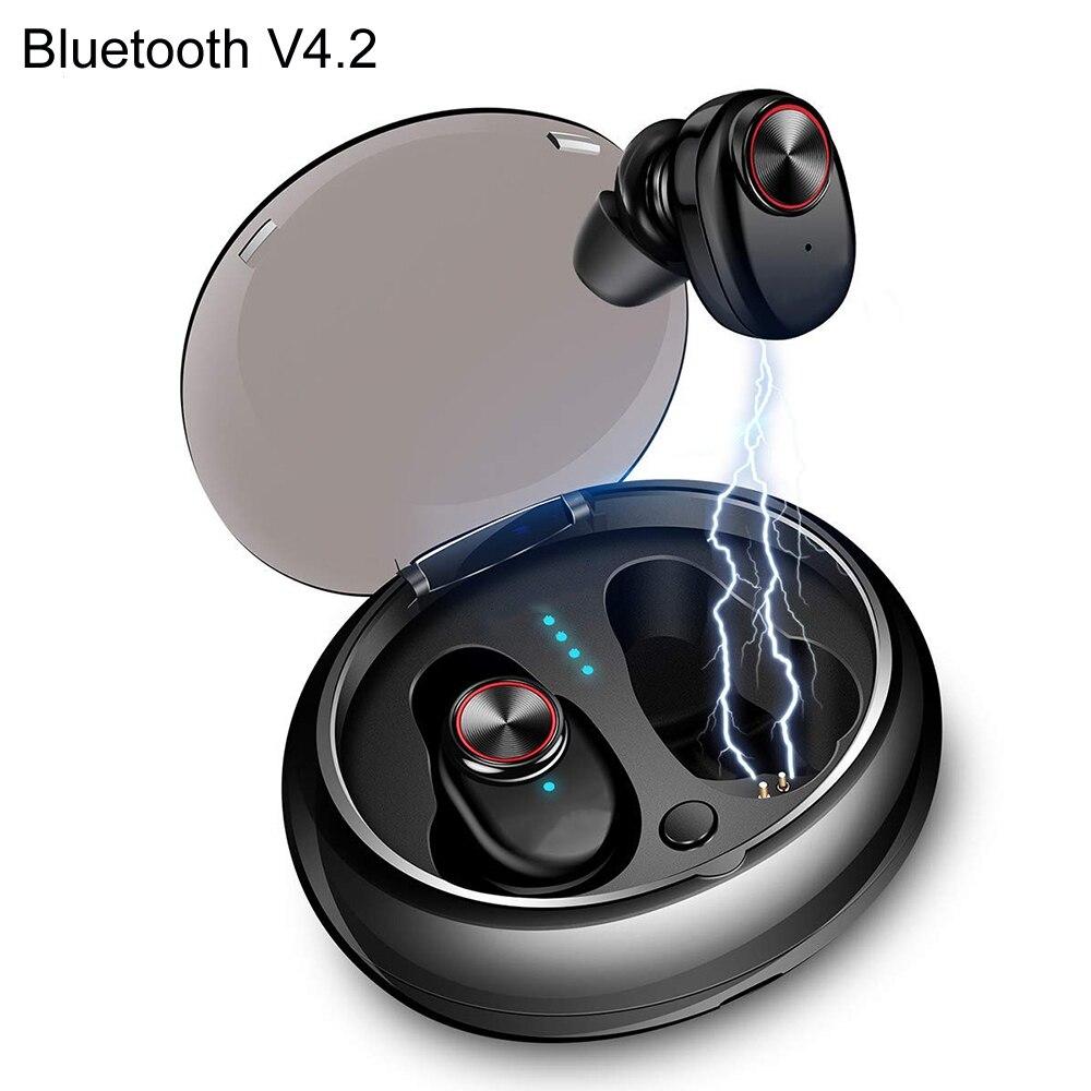 все цены на NVAHVA TWS Bluetooth V4.2 Earphones Bass Bluetooth Headset Wireless Earbuds For PC Car Smart Phones Music Call Audiobook Sports онлайн