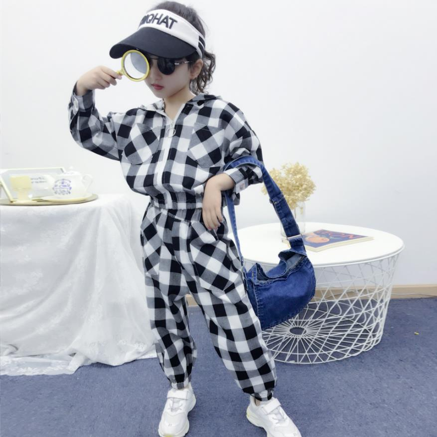 Children boys and girl sets 2019 spring autumn new fashion plaid zipper hooded sets long sleeve tops + trousers suit 3-12Y ws364Children boys and girl sets 2019 spring autumn new fashion plaid zipper hooded sets long sleeve tops + trousers suit 3-12Y ws364