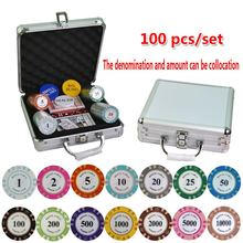100-500PCS/SET Poker Chips Sets, Poker Chips Colorful Clay Crown Casino Chips Texas Hold'em Poker Sets With Aluminum suitcase(China)