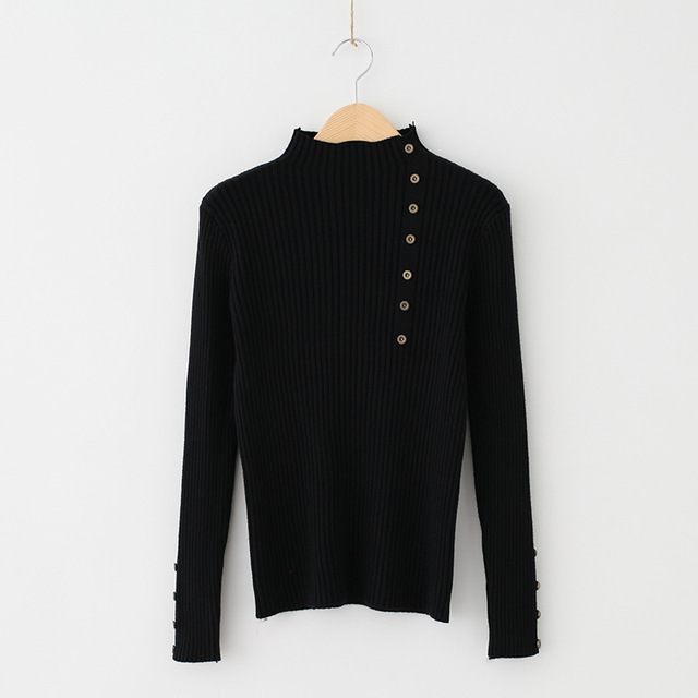 09aab663de6e3 Women RIb Knitted Mock Neck Sweater With Asymmetrical Button Detailing Black