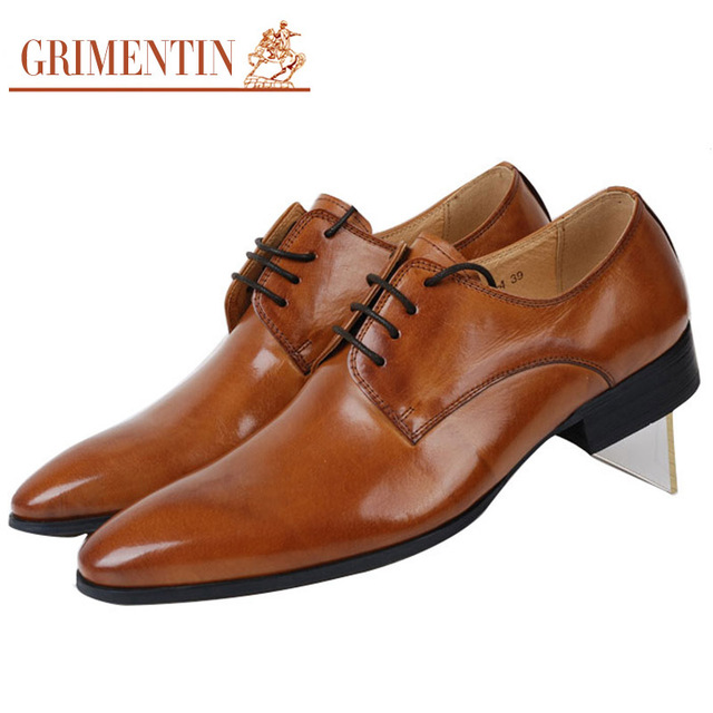 Grimentin 2017 Italian Smart Fashion Mens Dress Shoes Casual Genuine Leather For Men Office