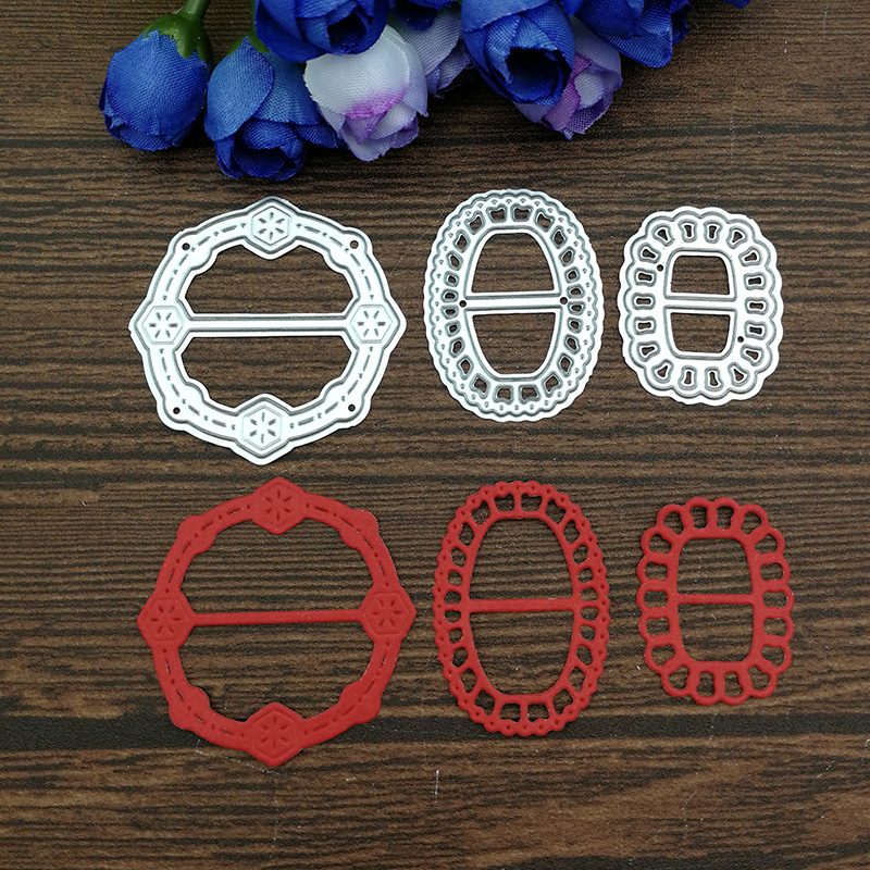 Metal Cutting Dies 3pcs Ribbon Clasp Buckle For DIY Scrapbooking Photo Album Embossing Paper Cards Decorative Craft