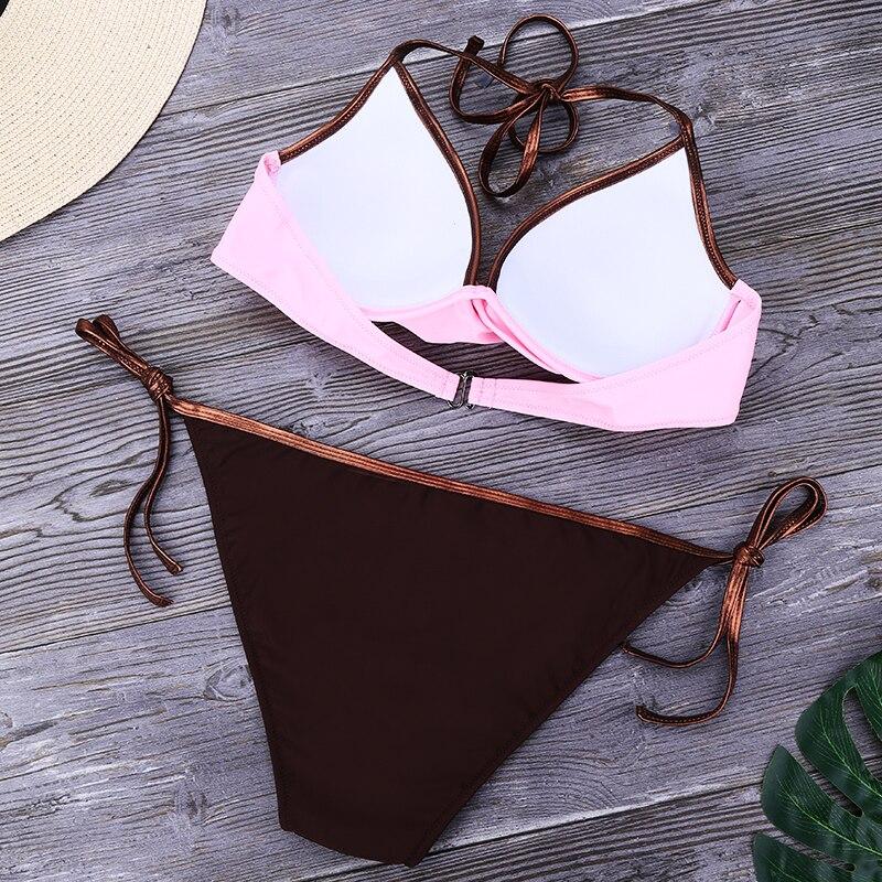 HTB1vbNcatjvK1RjSspiq6AEqXXav HolaSukey Solid Push Up Bikinis Women Bandage Swimwear Bikini Set sexy Bordered Bathing Suit Plus Size Swimsuit Femme Biquini