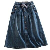 2018 New Women Skirts Summer Lace Up Elastic Waist Denim Skirts Loose Casual Female A Line Skirts Jeans Saia Faldas Plus Size