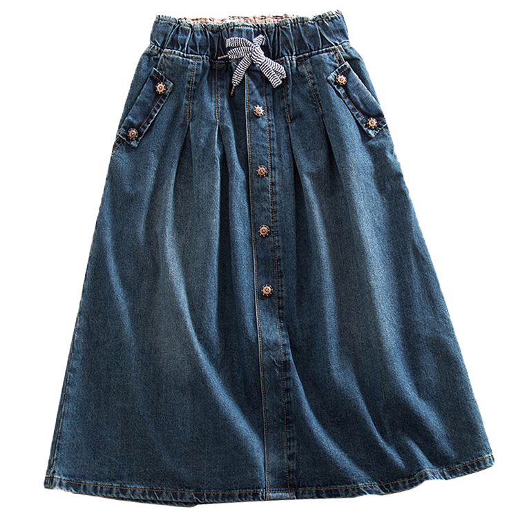 2020 New Women Skirts Summer Lace Up Elastic Waist Denim Skirts Loose Casual Female A-Line Skirts Jeans Saia Faldas Plus Size