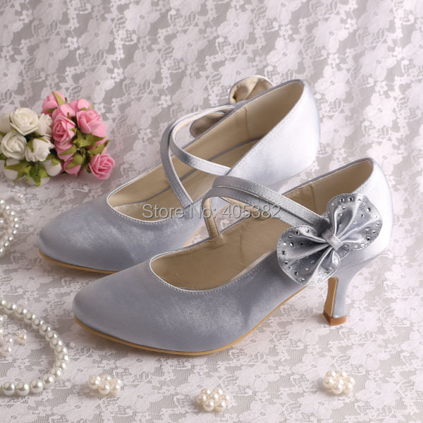 ФОТО (20 Colors)Wholesale Mary Jane Wedding Bridal Shoes Silver Satin Closed Toe Size 6