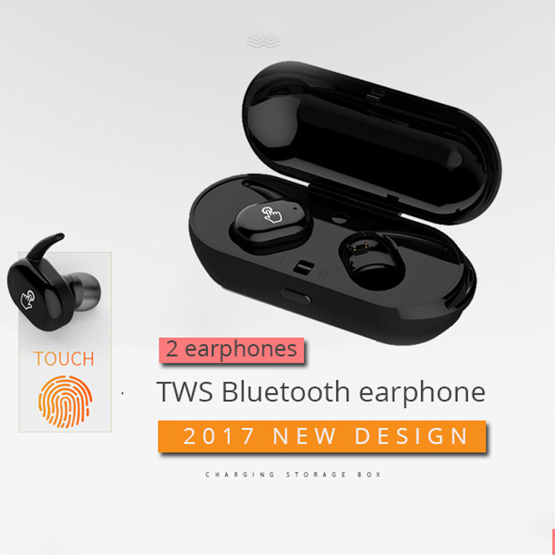 Twins True Touch Wireless Bluetooth Earphone Headset With Mic TWS Headset Earbuds Earpiece With Portable Charger For iphone 7