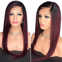 Eversilky 1B/99j Ombre Red Wig 360 Lace Frontal Wig Straight Hair Wigs Brazilian Remy Human Hair Wigs With Baby Hair for Women