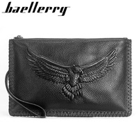 Baellerry New Genuine Leather Cowhide Quality Men Wallet Zipper Multi-purpose Large Capacity Multi-card Soft Cutch Purse Wallets
