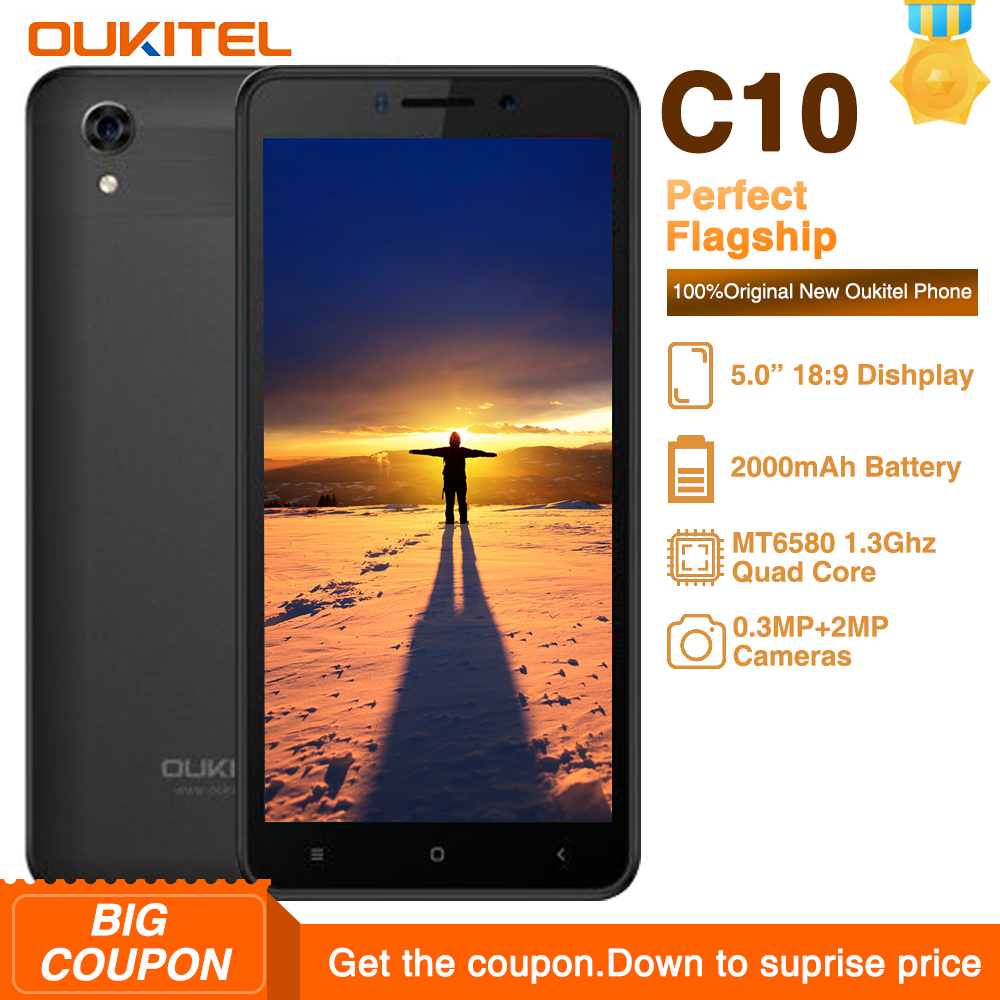 Oukitel C10 5.0 inch 18:9 Display Mobile Phone MTK6580 Quad Core 1.3GHz Dual SIM 2000mAh Android 8.1 3MP+2MP Camera Smartphone
