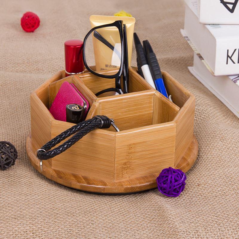ჱbambu Kotak Penyimpanan 5 Slot Dekorasi Meja Kosmetik Pemegang