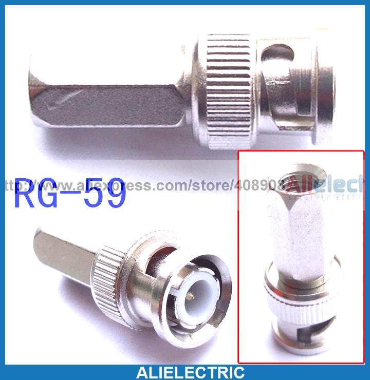 100pc BNC Male to RG 59 Connectors Coaxial CCTV Cameras100pc BNC Male to RG 59 Connectors Coaxial CCTV Cameras