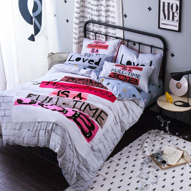 fashion street doodle queen size bedding sets 100 cotton bedlinens flat sheet set printing quilt cover different pillow cases - Queen Size Duvet Cover