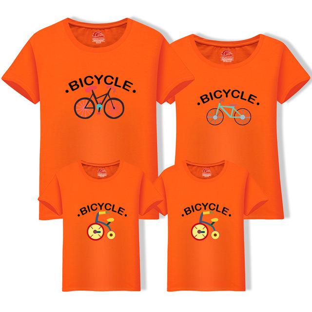 5634c0f3e2 Family Matching Outfit Summer Short Sleeve T Shirt Top Clothes Cotton Mother  Father Son daughter Dress bicycle LD10504