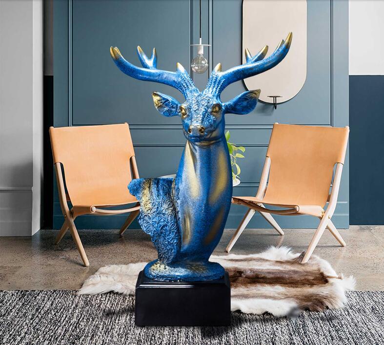 Modern deer head figurine,Wild animal abstract sculpture,Creative deer resin statue ,European style home decorations,craftsModern deer head figurine,Wild animal abstract sculpture,Creative deer resin statue ,European style home decorations,crafts