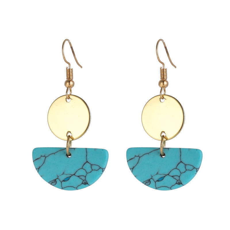Bohemian Ear Accessories Semicircle Turquoises Earrings Drop Blue Black White Natural Stone Gold Dangle Earrings for Women in Drop Earrings from Jewelry Accessories