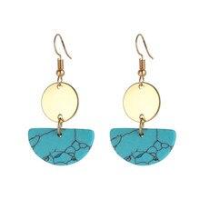 Bohemian Ear Accessories Semicircle Turquoises Earrings Drop Blue Black White Natural Stone Gold Dangle for Women
