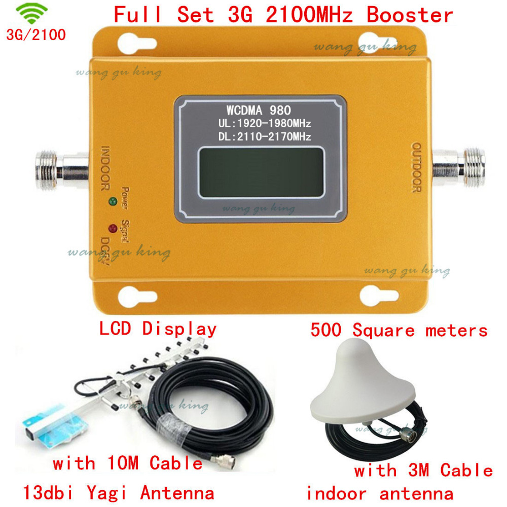 New Mobile 3G Signal Booster 3g Signal Repeater Amplifier LCD Display Mini 3G LTE WCDMA UMTS 2100Mhz 3G Repeater Full Set